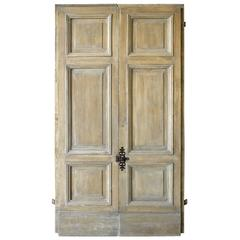 Pair of Antique Italian 18th Century Wooden Doors with Panelling & Iron Hardware