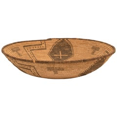 Apache Pictorial Tray - Antique Native American Basketry Bowl, 19th Century