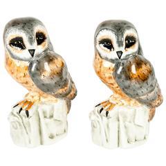 Vintage Italian Glazed Porcelain Pair of Owl