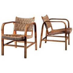 Magnus Stephensen Pair of Bent Beech and Seagrass Armchairs, Denmark, 1930s