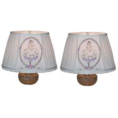 Pair of Custom Linen Lampshades with Hand-Embroidered Panels from the 1940s