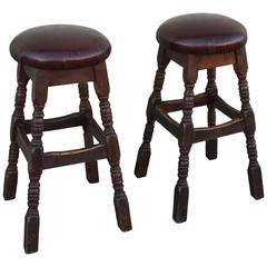 Pair of Bar Stools with for Alligator Leather Seats