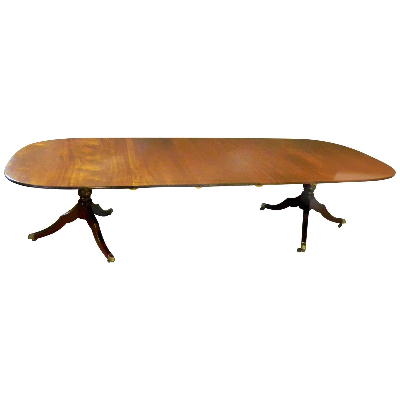 mahogany regency style pedestal banquet table for sale at 1stdibs. Black Bedroom Furniture Sets. Home Design Ideas