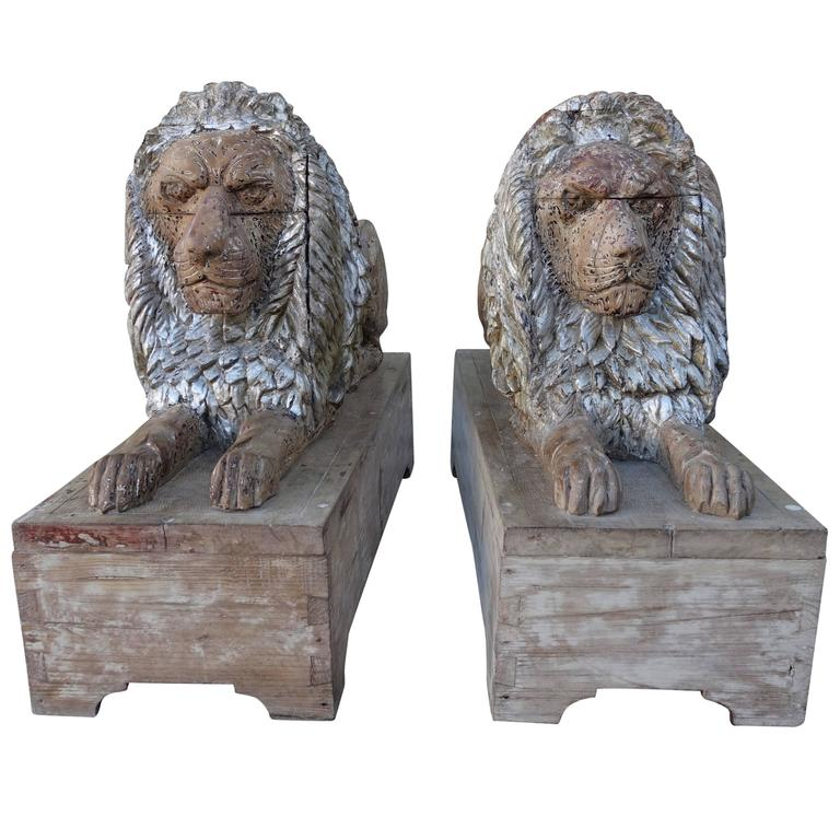 Pair of 19th Century Carved Italian Lions on Bases