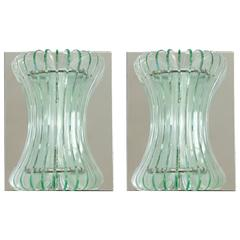 Pair of Italian Beveled Glass Sconces by Cristal Art