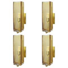 Two Sets of Four Geometric Murano Sconces by Fabio Ltd