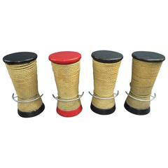 Set of Four French Bar Stools Wrapped in Jute