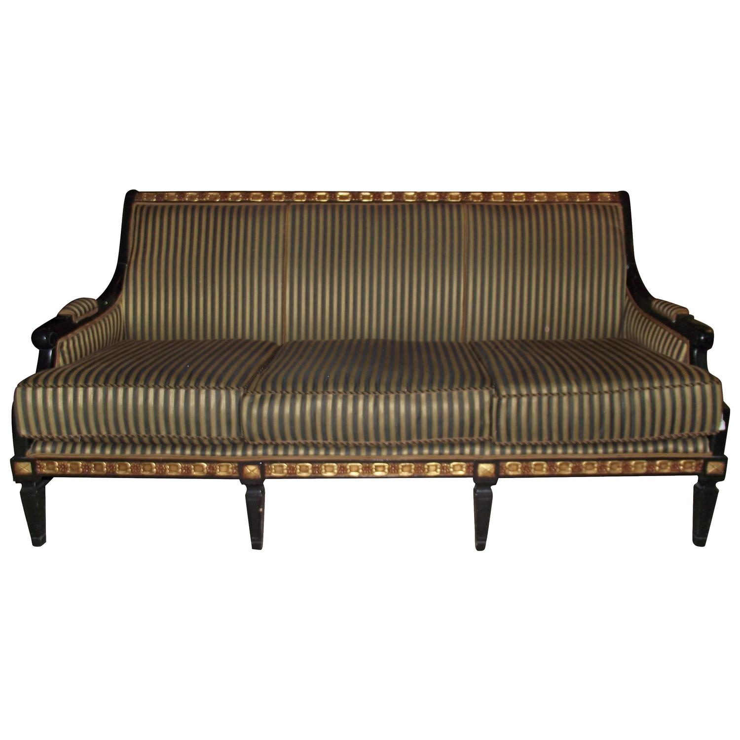 Neoclassic Style Sofa Covered In Black And Gold Stripe At 1stdibs