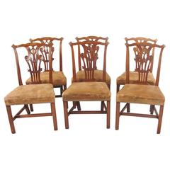 Set of Six English 19th Century Chippendale Style Side Chairs
