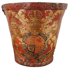 English Leather Fire Bucket with Coat of Arms