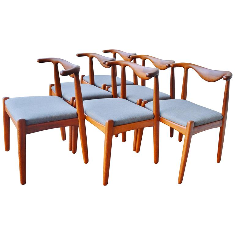 Svend Madsen Teak Cow-Horn Dining Chairs, Set of Six