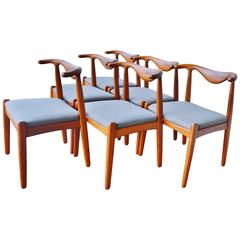 Rare Svend Madsen Teak Cow-Horn Dining Chairs, Set of Six