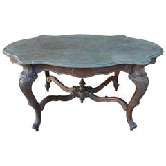 19th Century French Table with Serpentine Painted Top