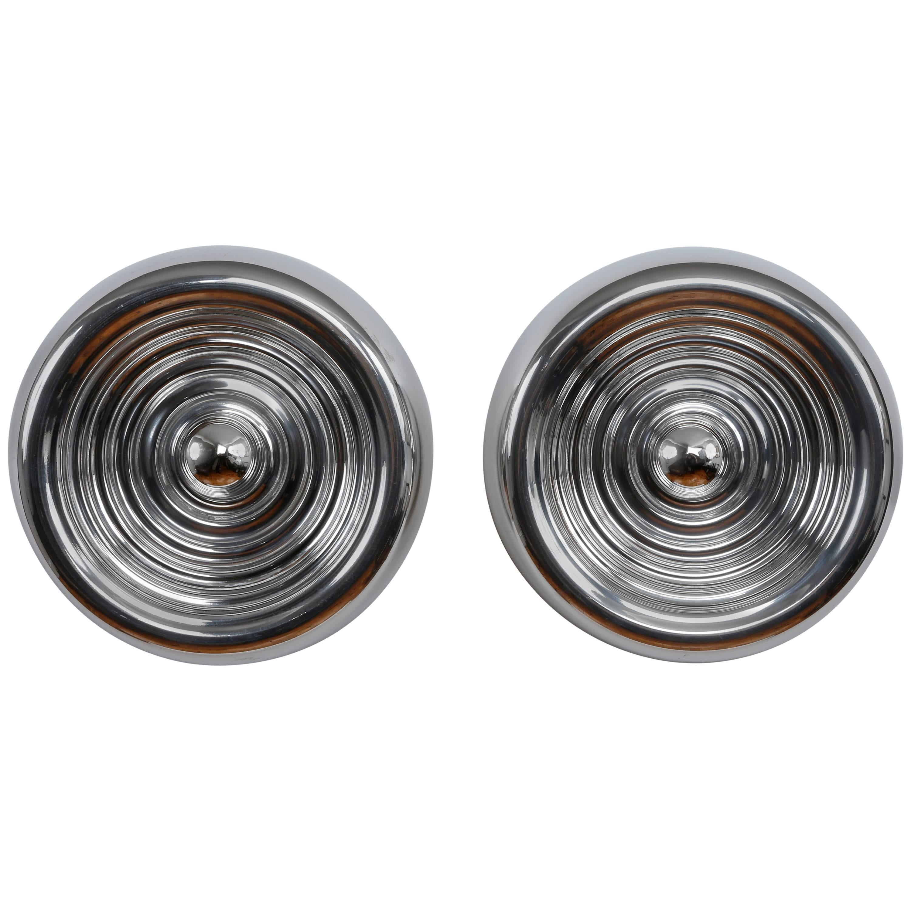 """Pair of """"Padina"""" flush mounts or wall lamps by Achille Castiglioni for Flos"""