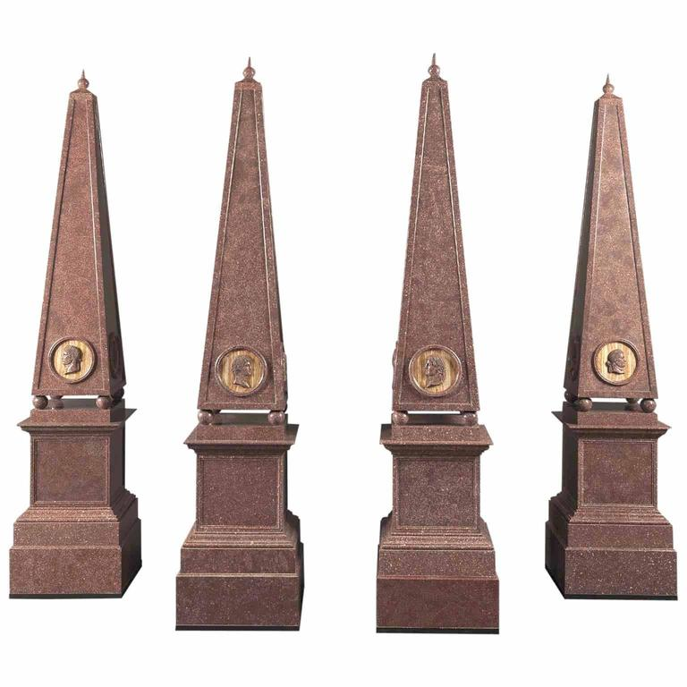 Set of Four Porphyry Obelisks