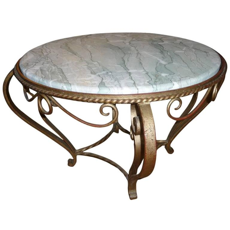 Gold Painted Wrought Iron Coffee Table in the Manner of Gilbert Poillerat