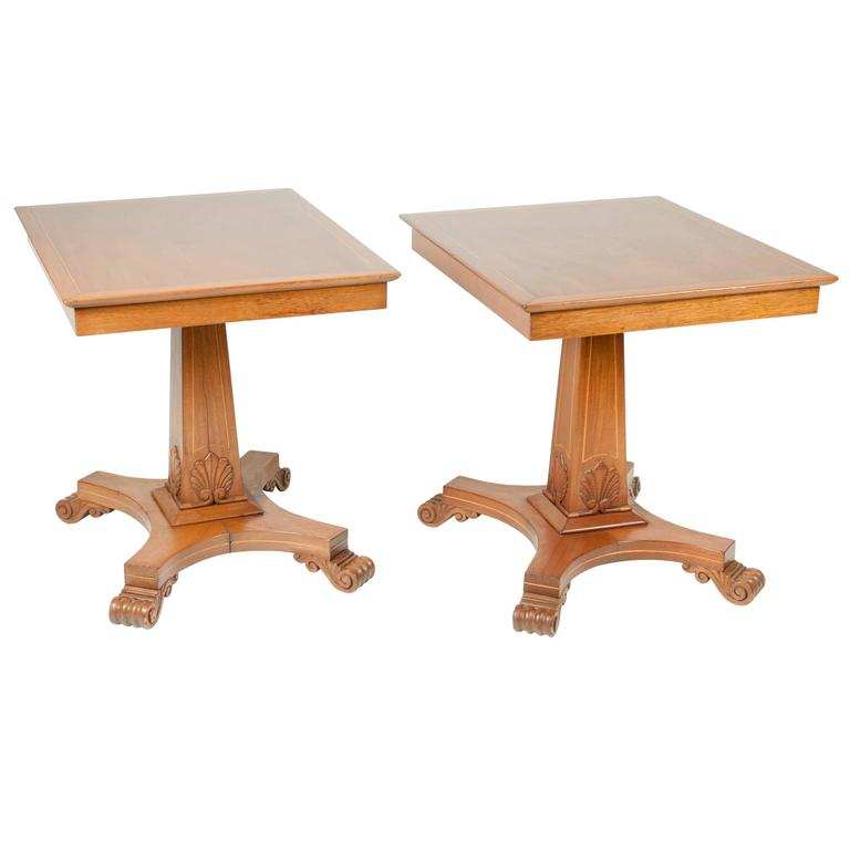 Antique Pair Of Light Mahogany Side Tables At 1stdibs