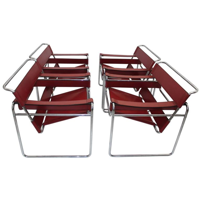 Red Bauhaus Red Wassily Chairs Mod. B 3 by Marcel Breuer 1920s