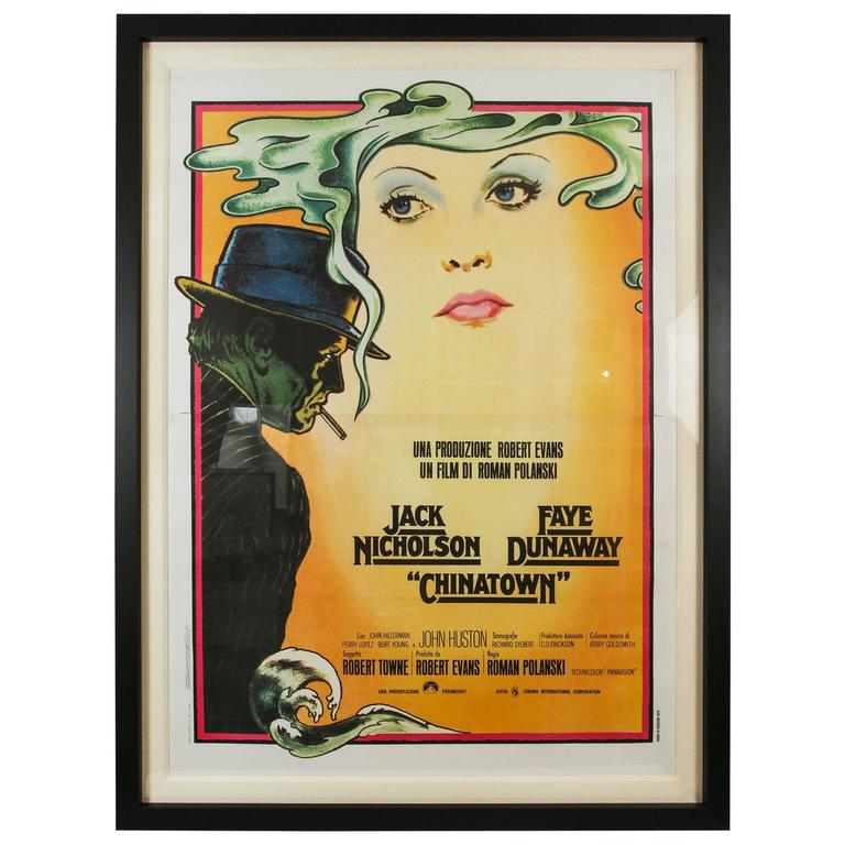 large vintage custom framed italian poster for chinatown