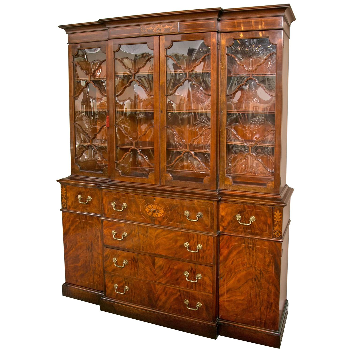 Georgian Style Saginaw Breakfront Bookcase Cabinet at 1stdibs