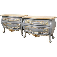 Pair Louis XV Style Parcel Paint and Gilt Decorated Bombe Commodes Nightstands