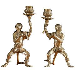Bronze Monkey Candlesticks