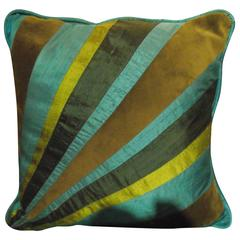 Throw Pillow of Turquoise Blue and Green Silk and Velvet In Diagonal Stripe