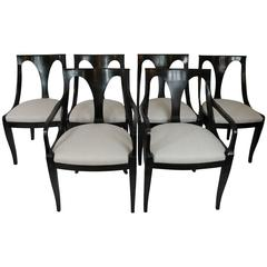 Set of Six Empire-Inspired Dining Chairs by Kindel
