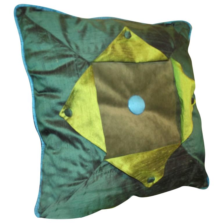 Green Silk Throw Pillow : Throw Pillow out of Turquoise (blue) , and Green Silk and Velvet Button Down Tab For Sale at 1stdibs