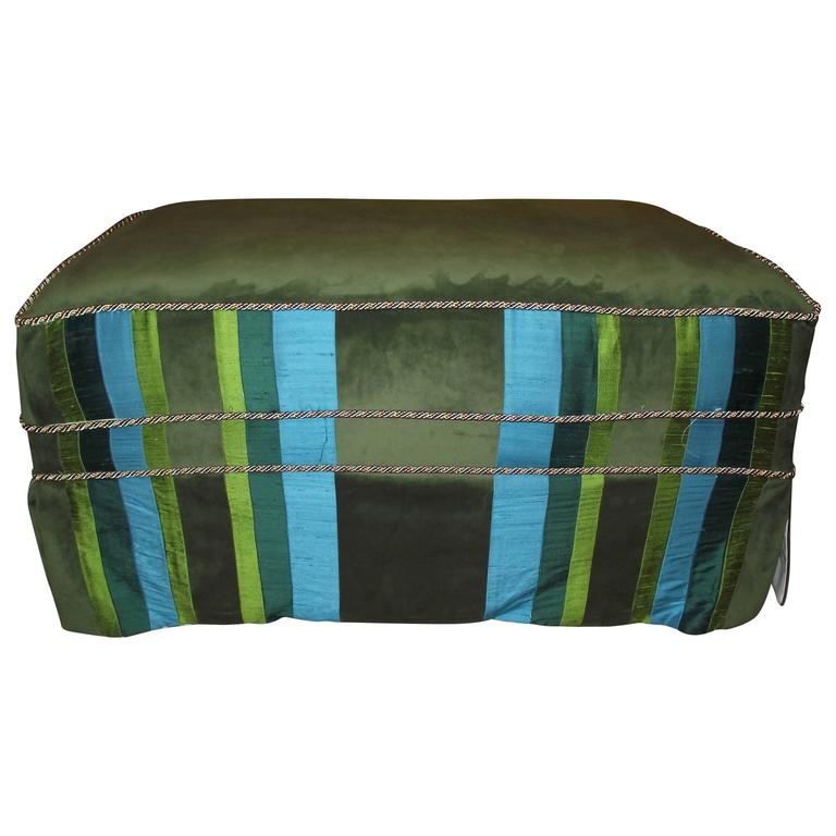 Ottoman Coffee Table Size Slip Covered Turquoise Blue And Green Stripe For