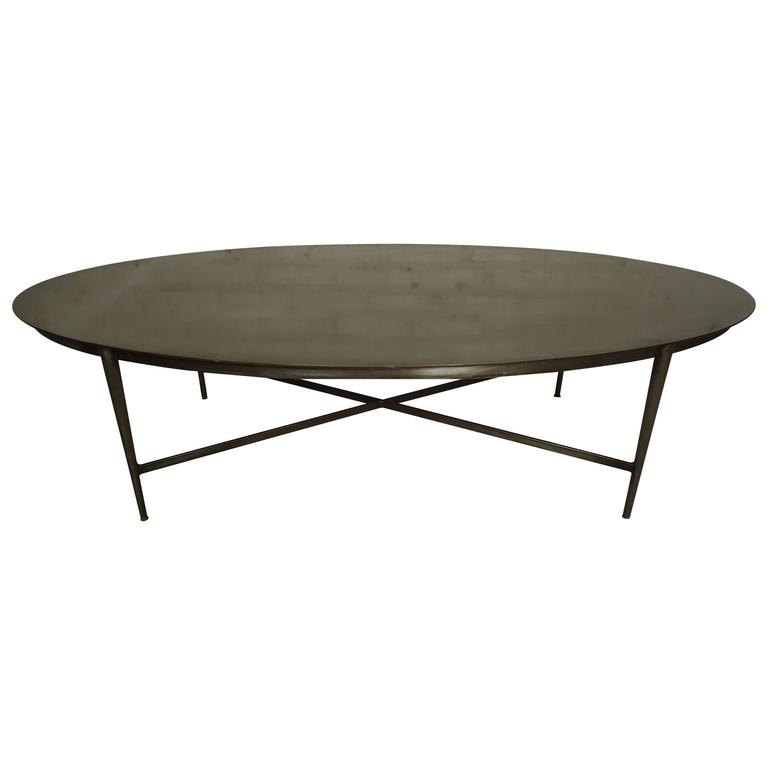 Mid-Century Industrial Style Oval Coffee Table At 1stdibs