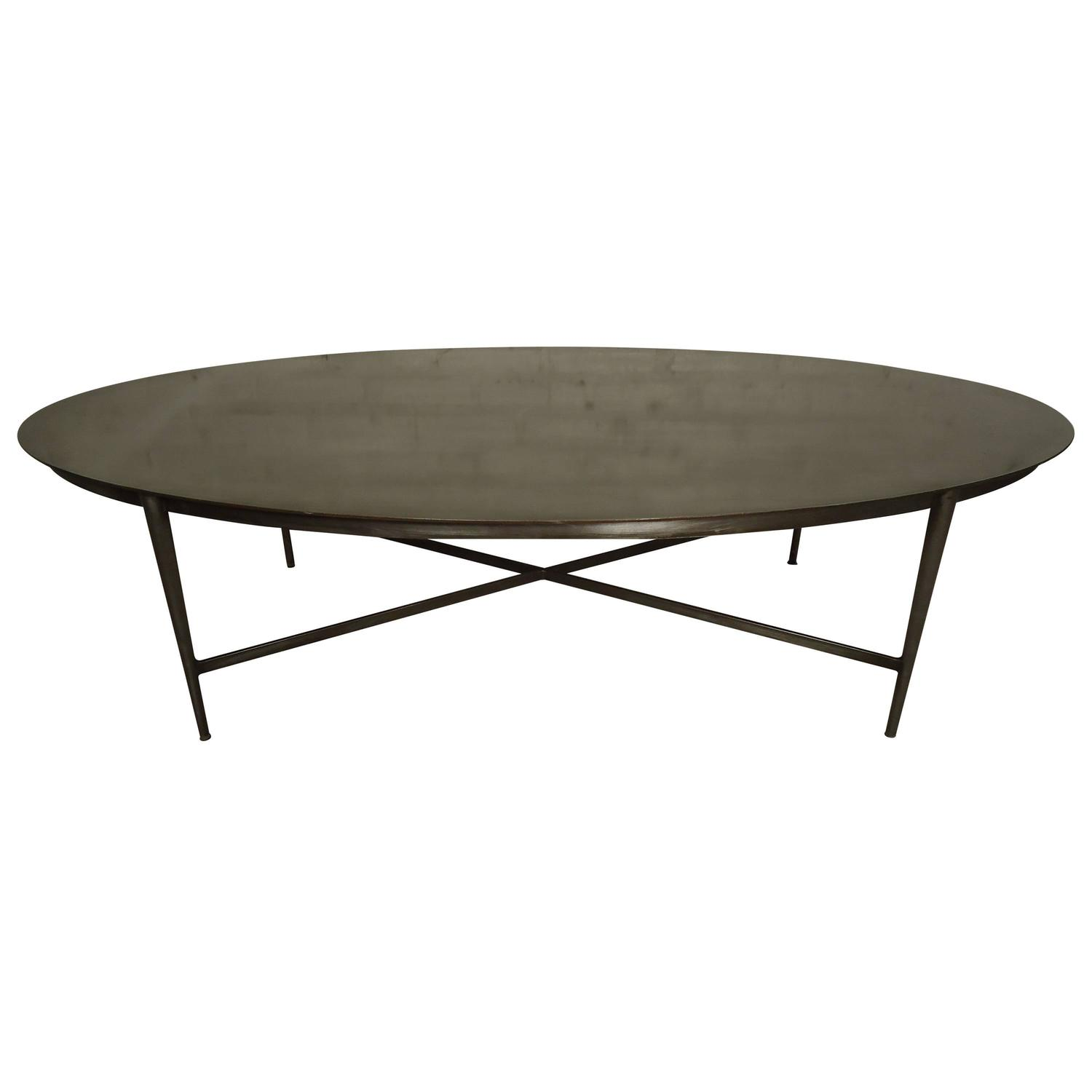 mid century industrial style oval coffee table at 1stdibs With oval industrial coffee table