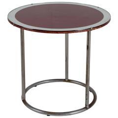 1920s Tubular Metal Table with Red Wood and Glass Top, England