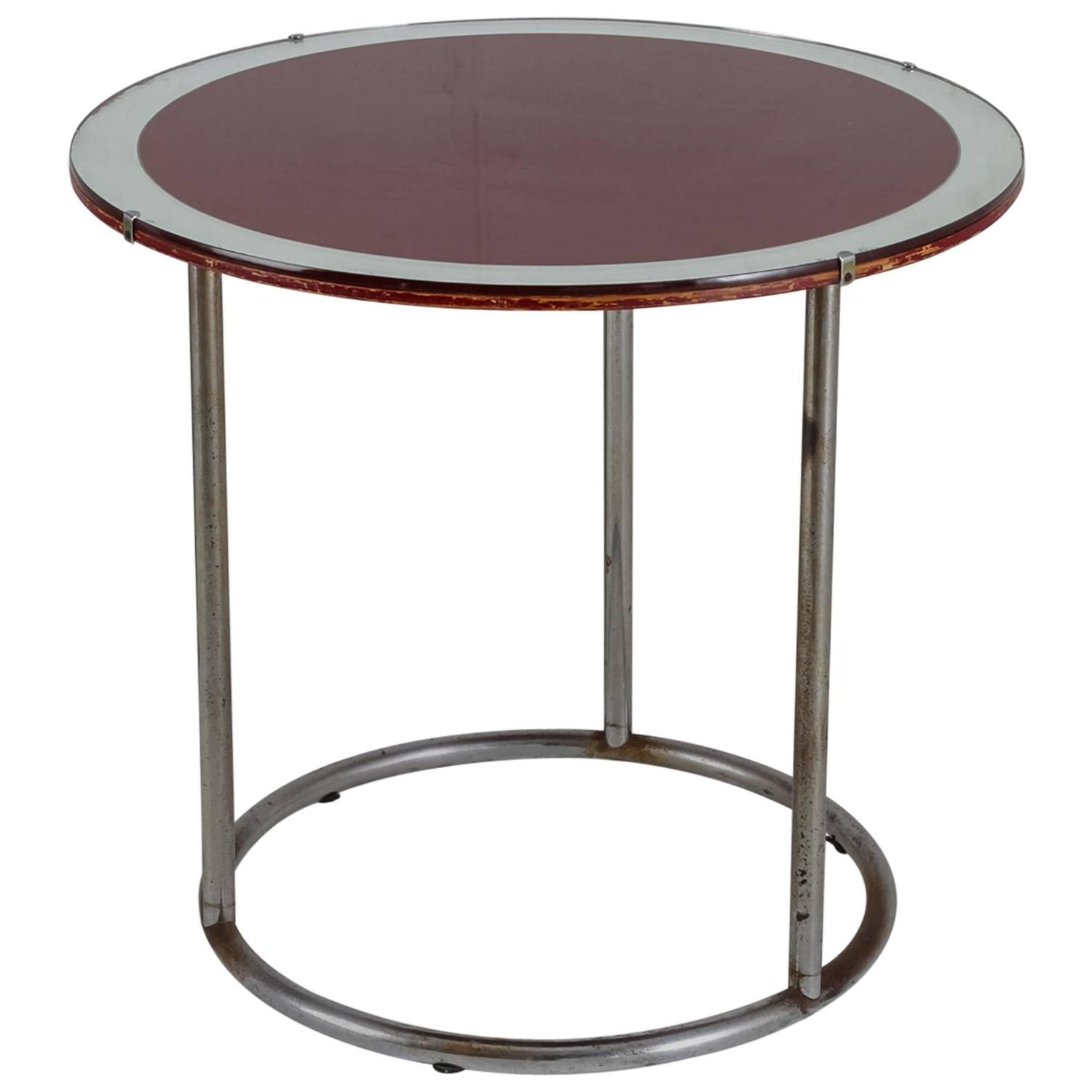 1920s tubular metal table with red wood and glass top for Wood and glass cocktail tables