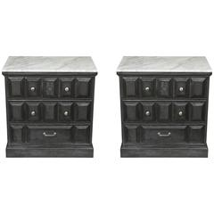 Pair of 1970s Nightstands with Marble Tops