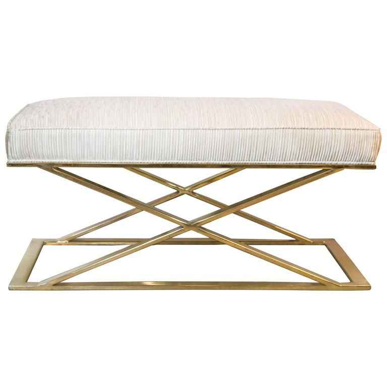 X Base Brass Bench By Milo Baughman At 1stdibs