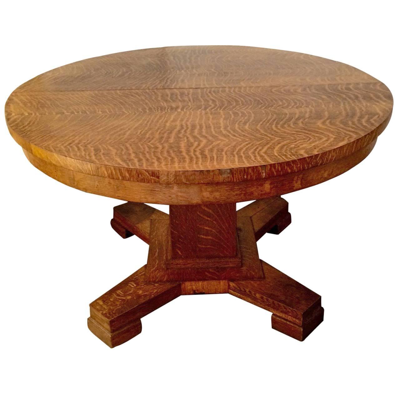 Arts and crafts style round zebra grain dining table at for Arts and crafts style table