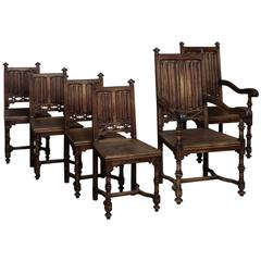 Set of Six 19th Century French Gothic Dining Chairs