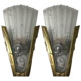 Pair of French Art Deco Genet et Michon Wall Sconces