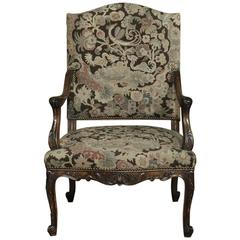 Antique Louis XV Armchair with Original Chinoiserie Needlepoint Tapestry