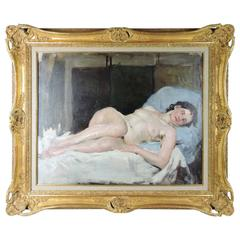 """Reclining Nude"" Early 20th Century French Oil on Canvas, circa 1930s"