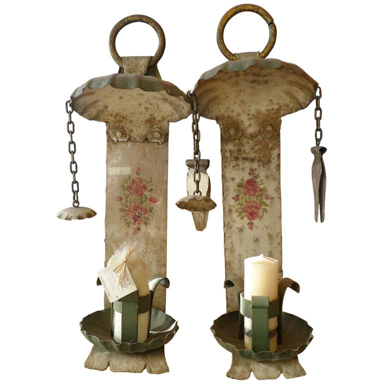 Two Metal Spanish 19th Century Painted Wall Sconce For Sale at 1stdibs