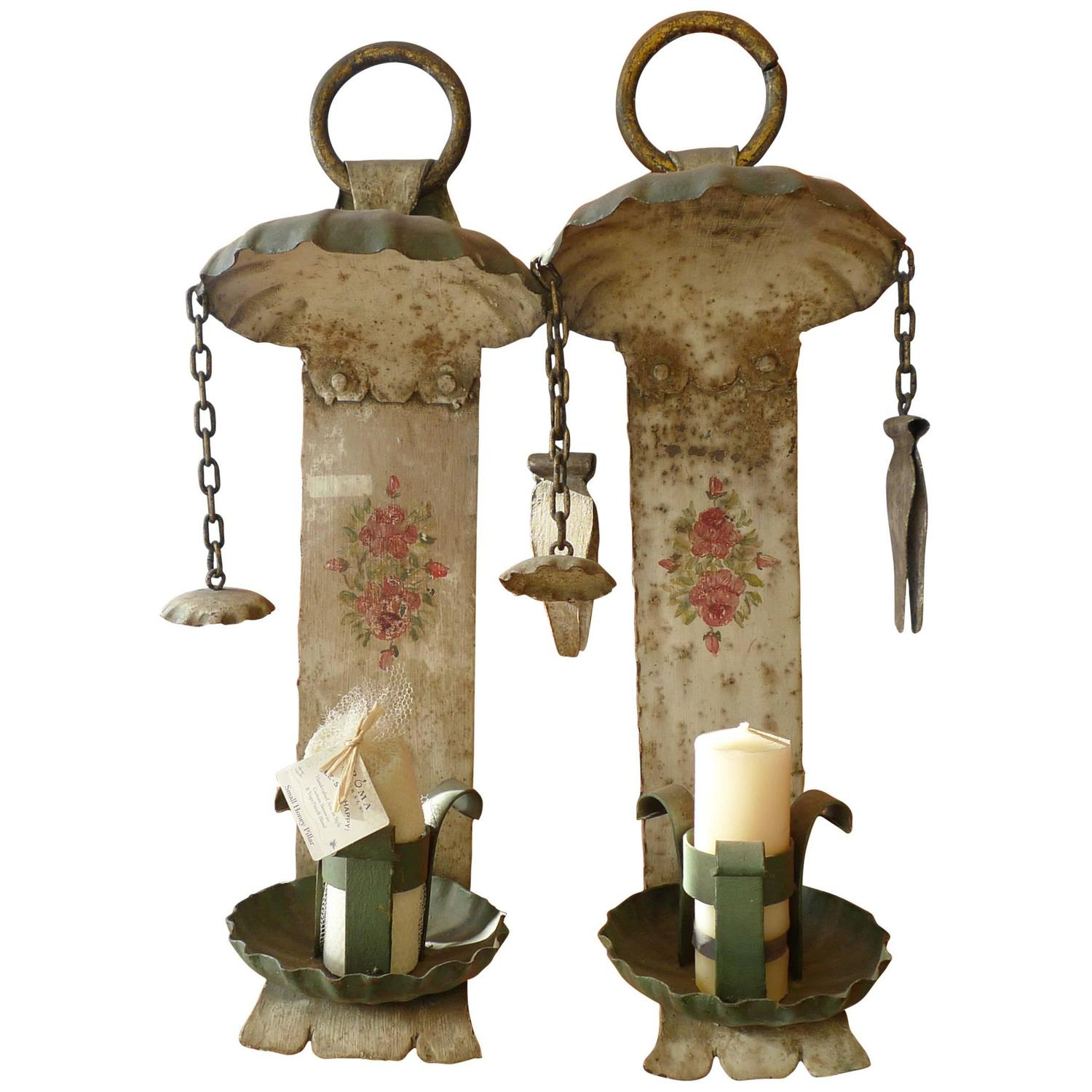 Wall Sconces En Espanol : Two Metal Spanish 19th Century Painted Wall Sconce For Sale at 1stdibs