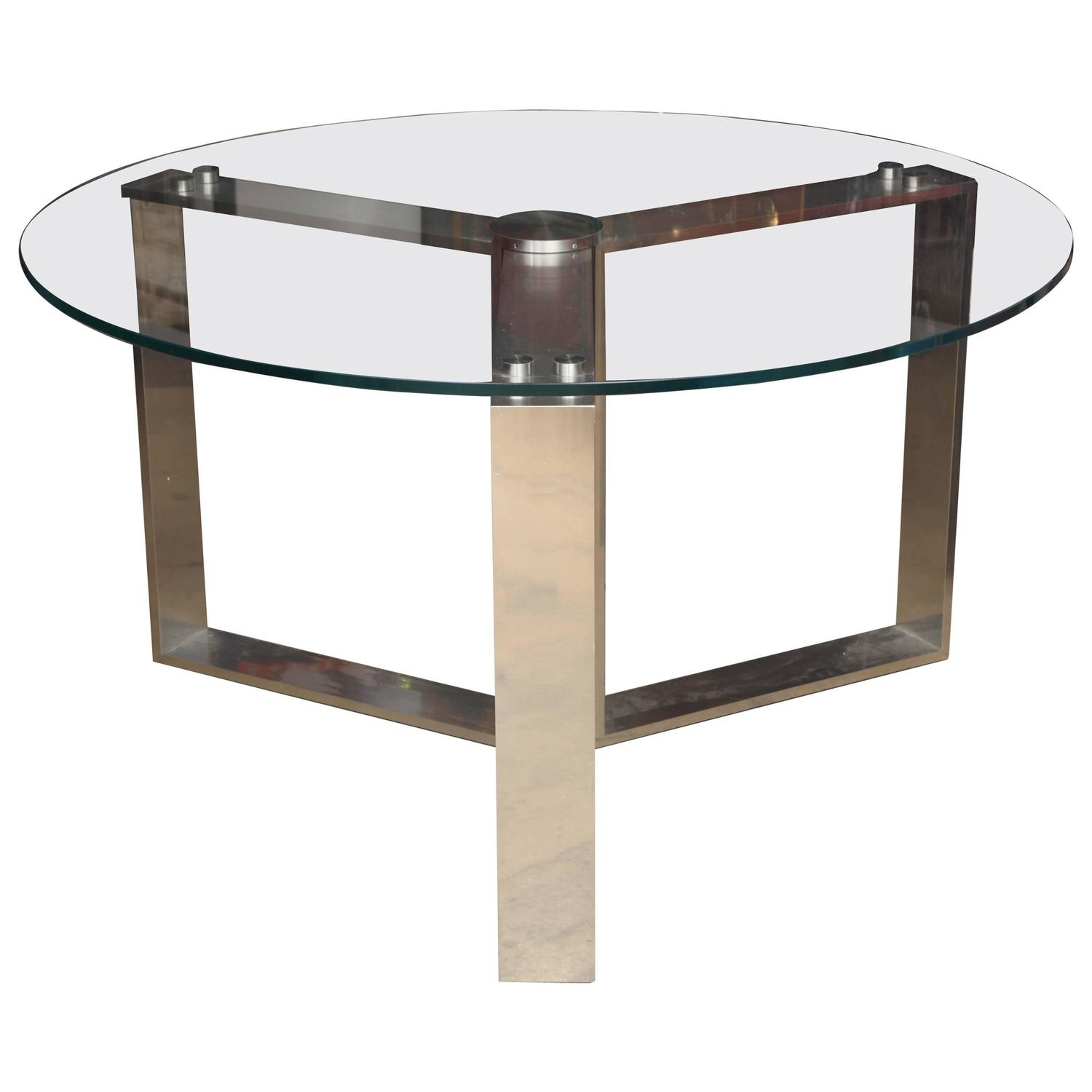 Glass Kitchen Tables For Sale: Round Glass Dining Table For Sale At 1stdibs
