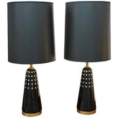 Pair of Black Lacquered Lamps Imbedded with Rhinestones
