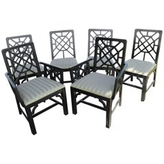 Set of Six Fretwork Chinese Chippendale Dining Chairs