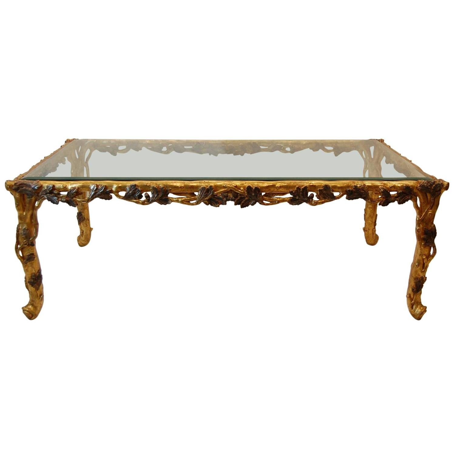 Italian Gold Leaf Carved Wood Coffee Table With Beveled Glass Top For Sale At 1stdibs