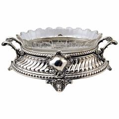 Silver Nouveau German Flower Bowl Glass Liner Koch & Bergfeld Bremen, circa 1890