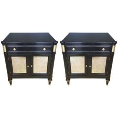 Pair of Ebonized Nightstands or Side Cabinets