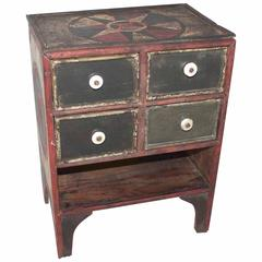 19th Century Original Paint Decorated Tabletop Apothecary Cabinet